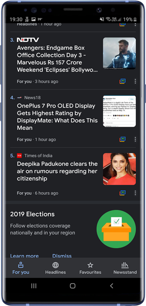 apps with dark mode- Google News