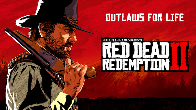 Red Dead Redemption 2 poster with the side pose of the guy wearing a hat and sawed off is on his shoulder.