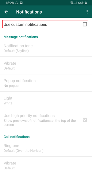 whatsapp custom notification- tick