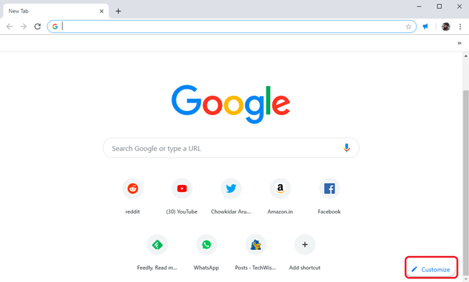 custom background on Google Chrome- customize button