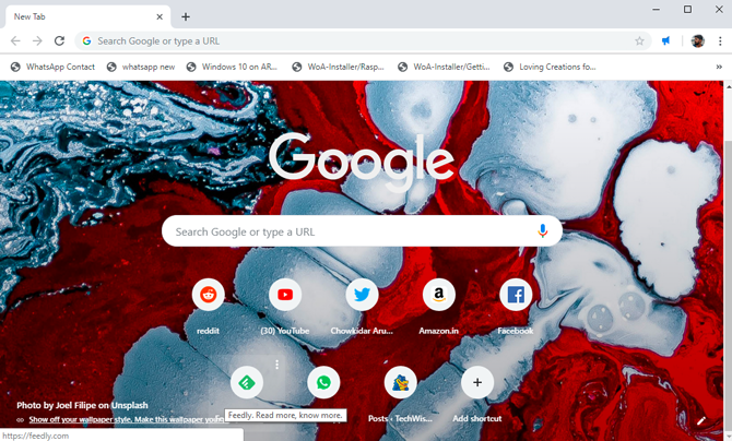 custom background on Google Chrome- done