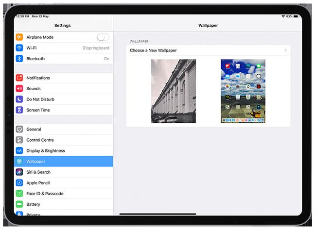 settings ipad wallpaper
