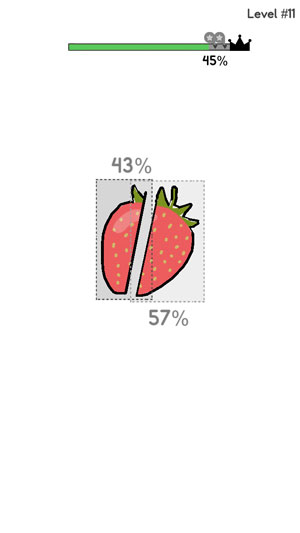 a strawberry cut in 43%-57% ratio