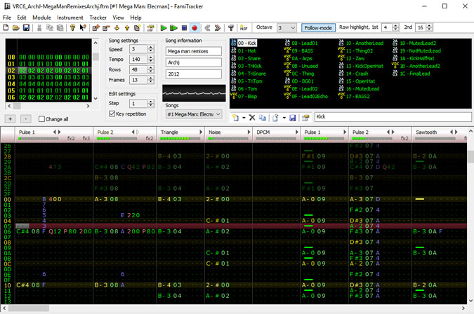 FamiTracker window with a lot of random numbers but those are actually musical notes.
