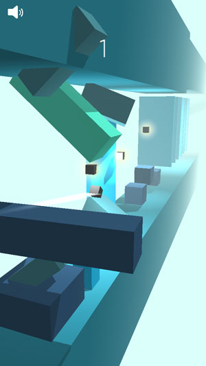 small box going through a path riddled with low poly boxes