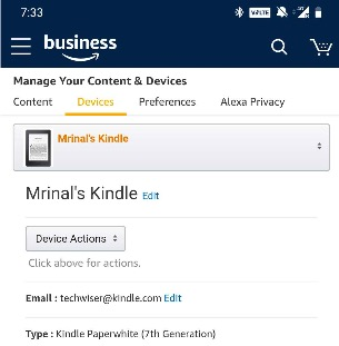 'Send to Kindle' email address