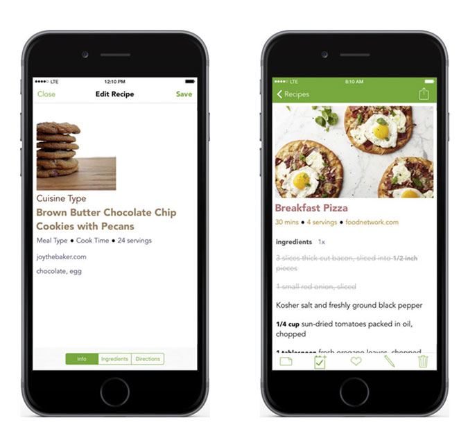 two phones with screenshots for Basil app. App showing cookies and pizza image