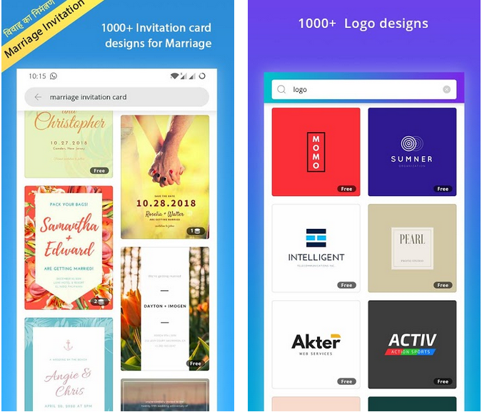 Canva app screenshots to design posters and wedding cards