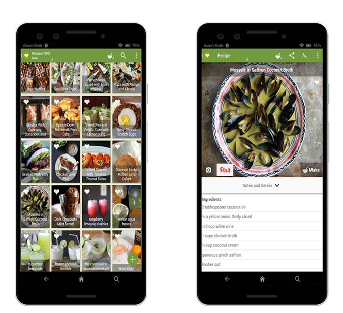 ChefTap app screenshots on Android Phone. Image of Mussels recipe.