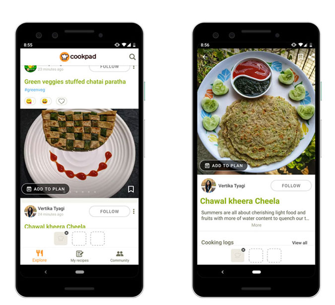 Cookpad app screenshots with two phones and pancake recipe