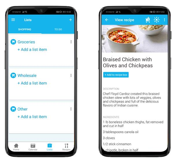cozi-grocery-list - couple apps long distance relationship