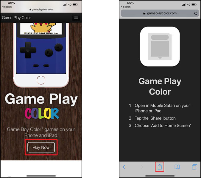 gameplay color website and play now button