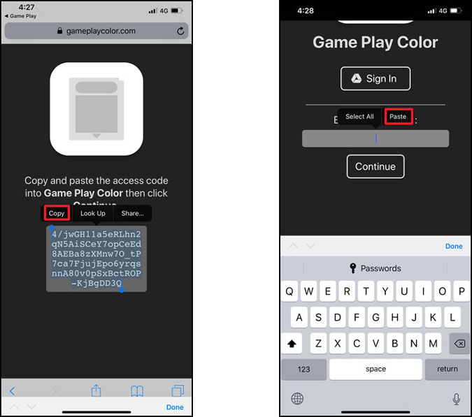 copy the access key and paste it in the home screen app