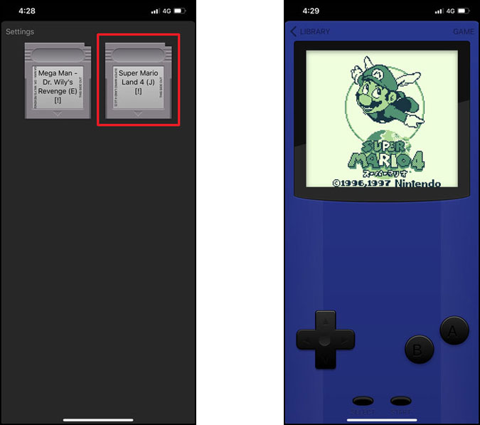 Tap on any cartridge to play the Gameboy game on your iPhone. Second screenshot shows gameboy with full DPad and buttons.