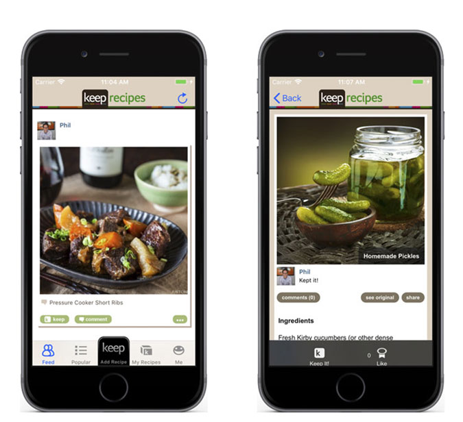 iPhone Screenshots of Keep Recipe, Cucumber and Short Ribs recipe