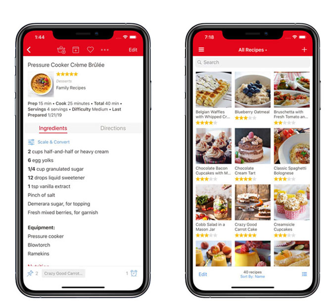 iPhone screenshots, a few different recipes and ingredients list.