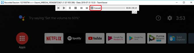 tap the convert button to render the recording into a video file