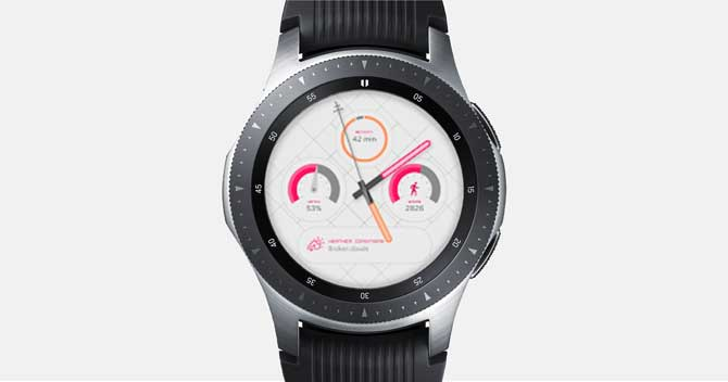 Screenshot of the Galaxy Watch with Puji app customized watch face on the screen