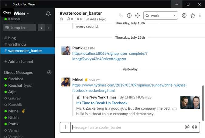 Slack desktop app with watercooler banter channel conversation. NYT link in the screenshot