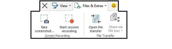 start the recording session, take a snapshot or just transfer files.