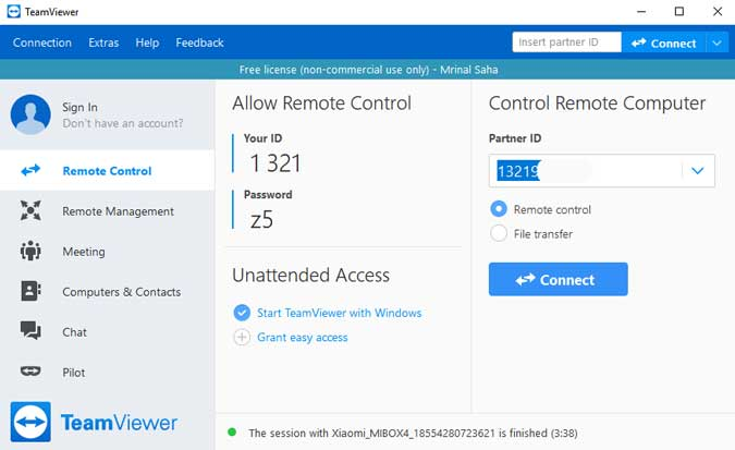 teamviewer on computer ready to establish connection