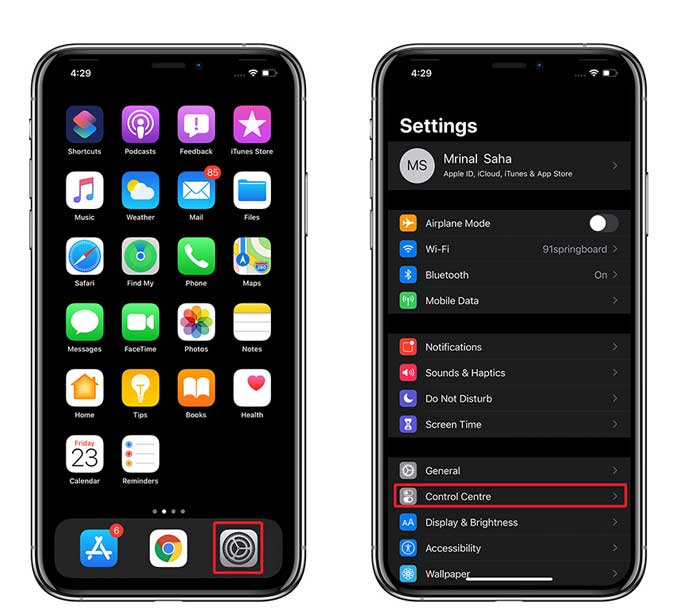 settings page on the iPhone to change the control centre items