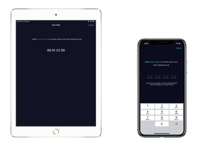 iPad displaying the code and iPhone waiting for the code to be entered