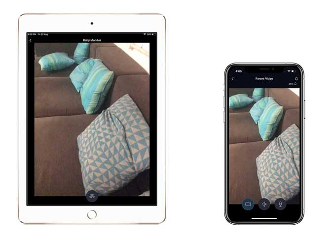 iPad and iPhone showing the same image of a sofa with some pillows