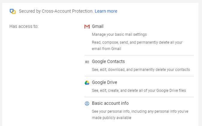 app with access to gmail, contacts, drive, and account info. it can delete everything if it wants.