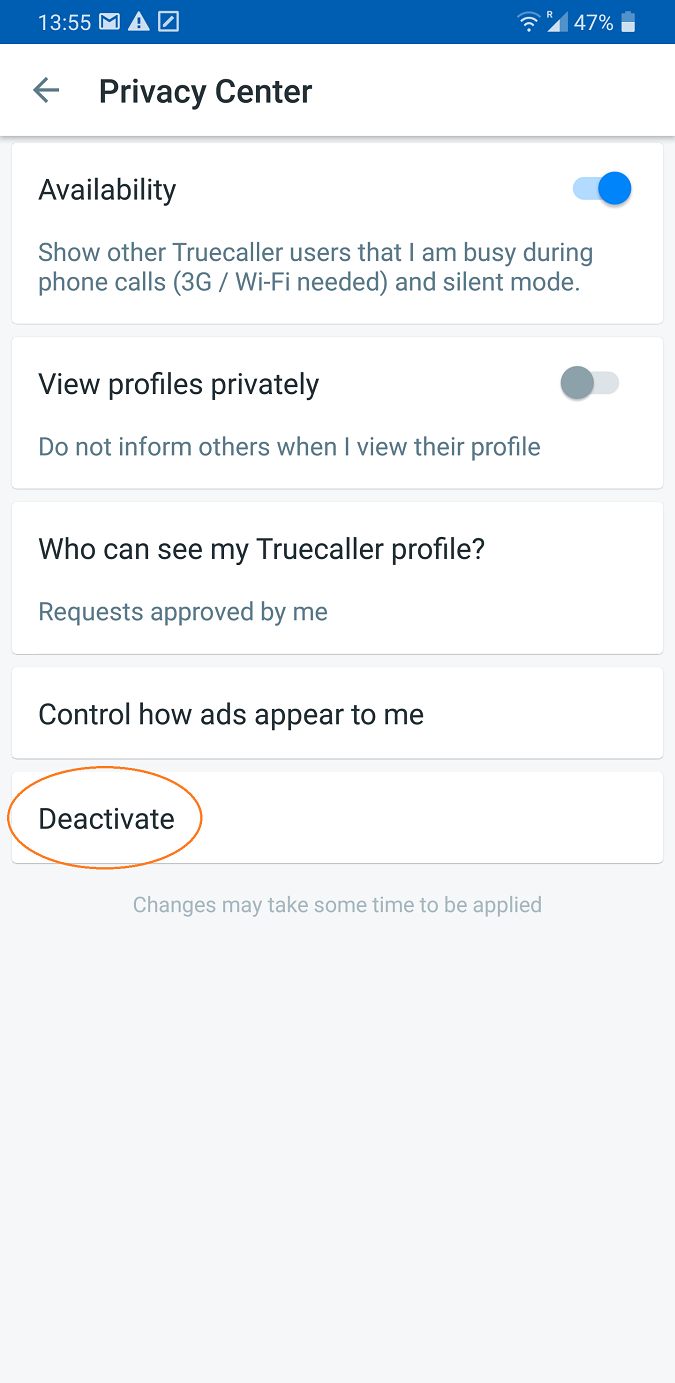 screenshot of truecaller app