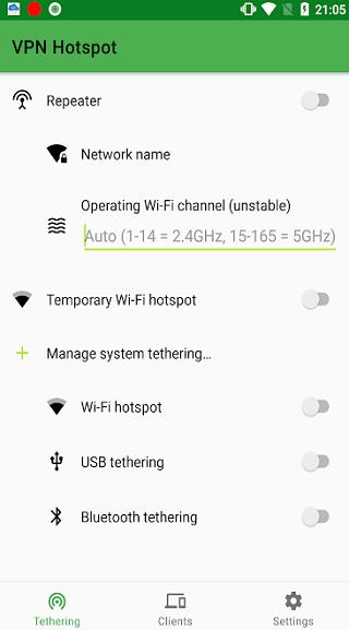 vpn hotspot wifi repeater and tethering screenshot