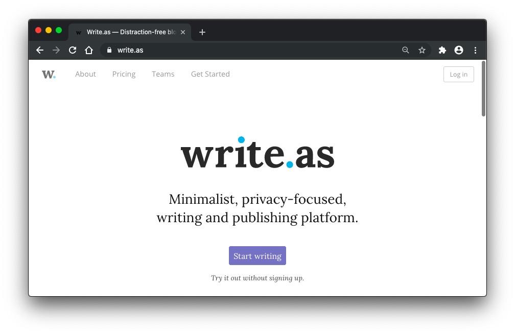 Write.as homepage screenshot