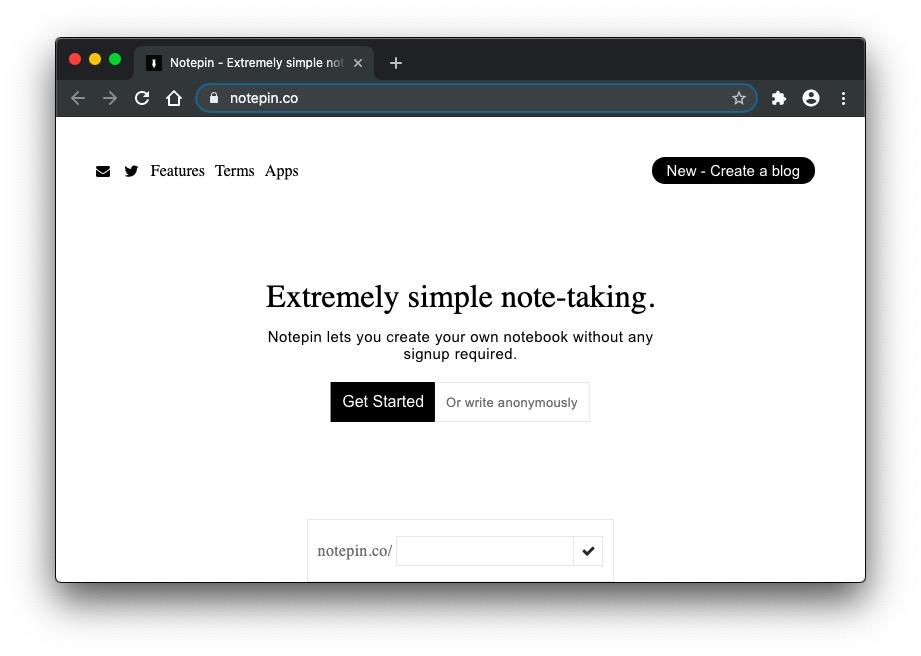 Notepin homepage screenshot