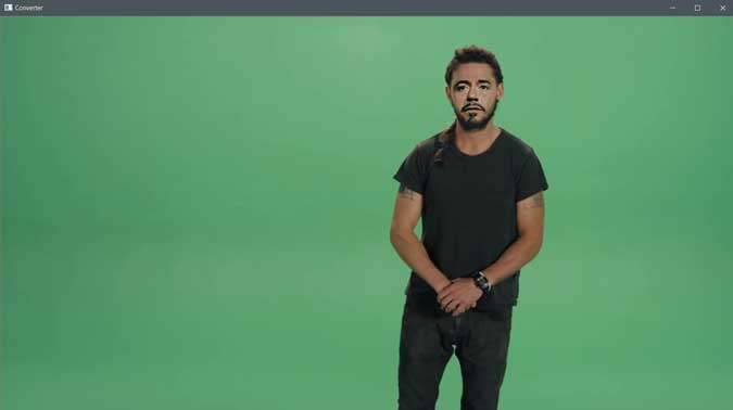 extracted frame of Shia LeBeouf video with face replaced with RDJ.