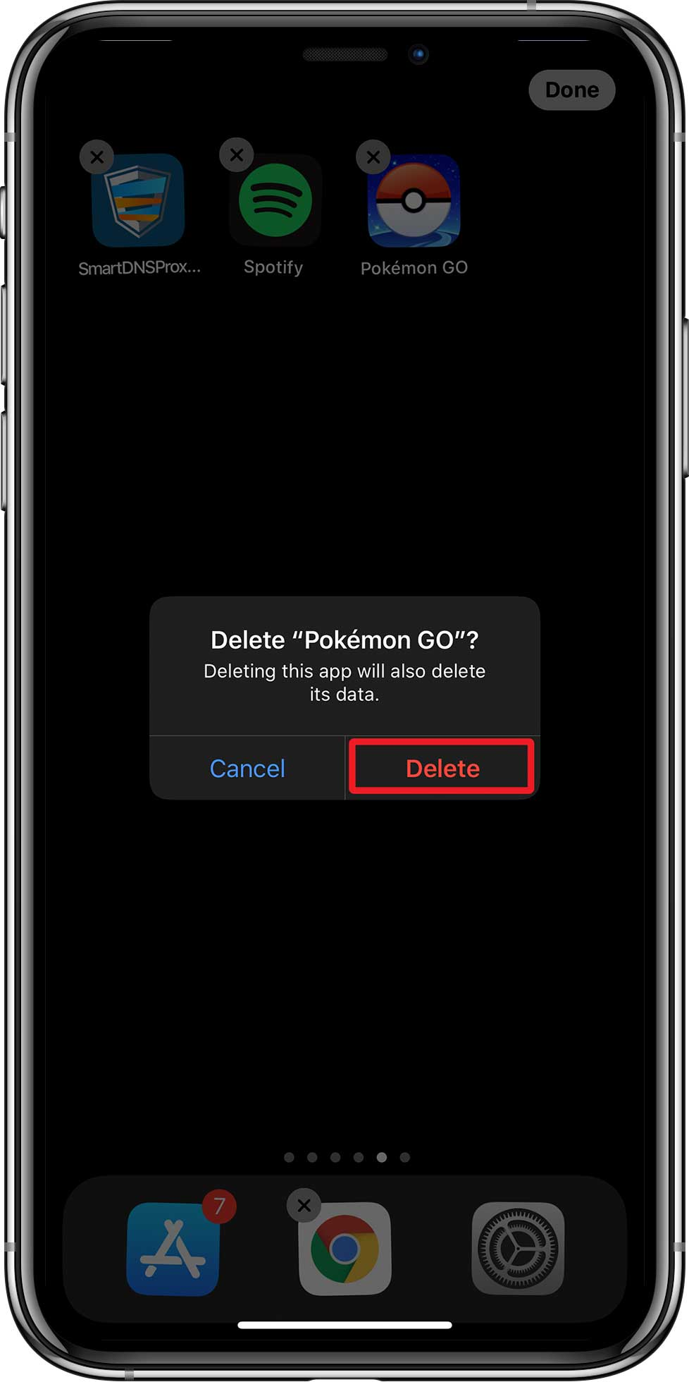 delete the Pokemon Go app from your iPhone.