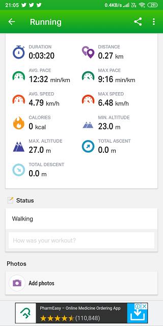 endomondo average pace and speed