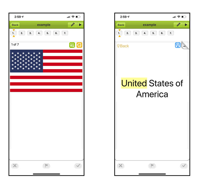 two screenshots of app; one with american flag and other shows the other side of the card with the country's name written on it.