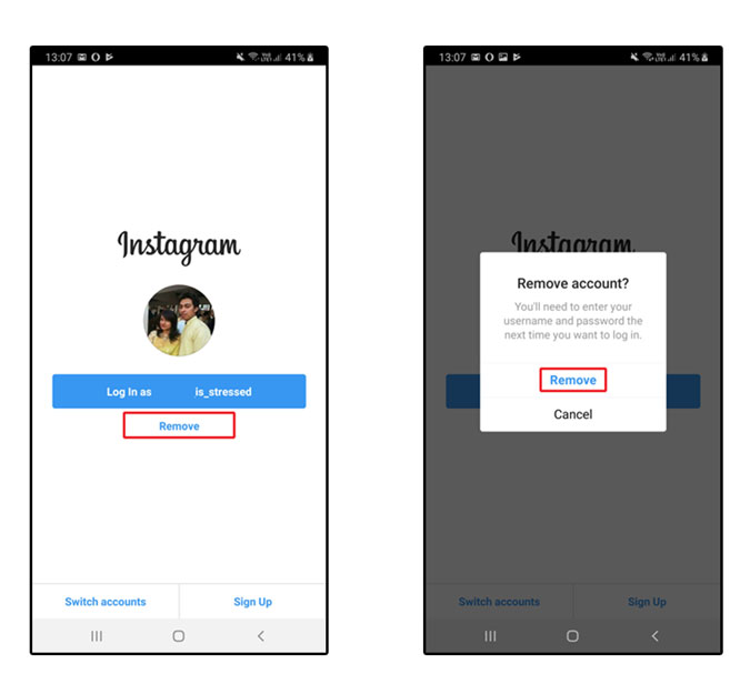 A screenshot of removing Instagram Account on Android
