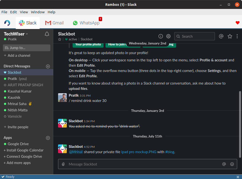 rambox - all in one messenger Linux
