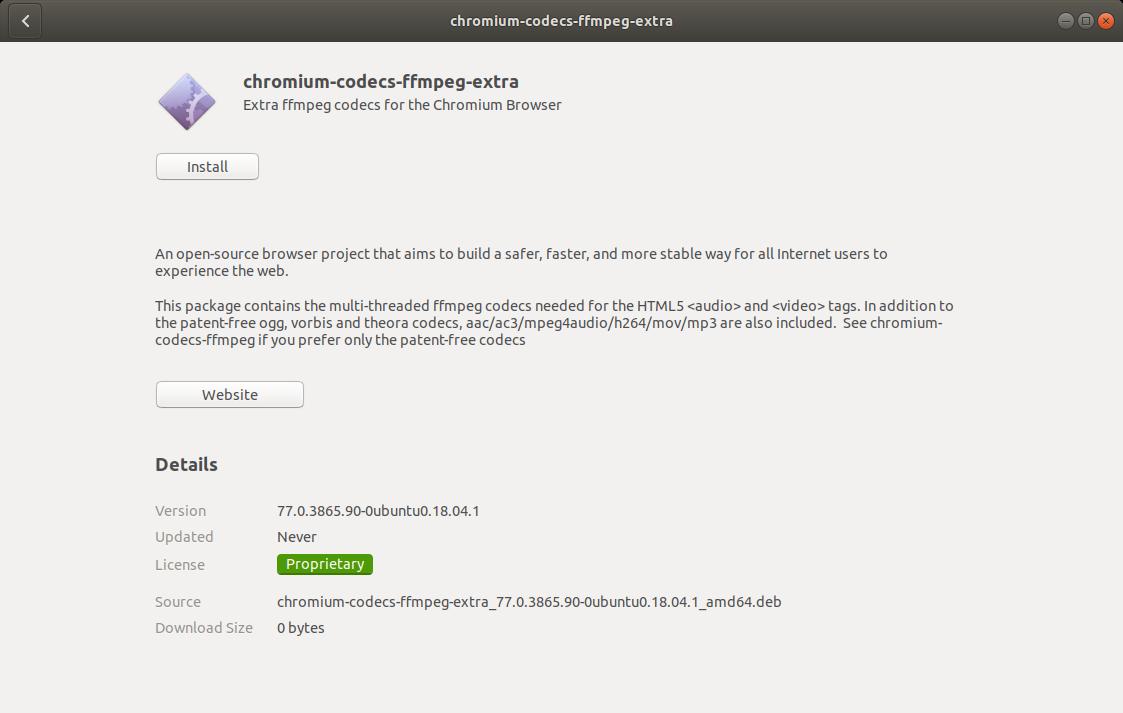 chromium ffmpeg codecs extra on ubuntu app store