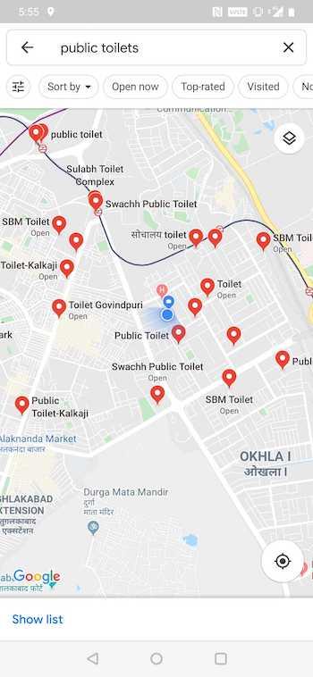find public toilets google maps