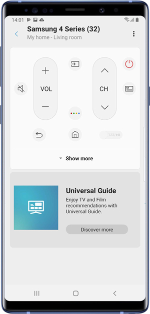 Samsung SmartThings app screenshot showing you the basic remote buttons within the app
