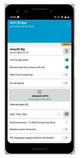 alert bridge app to customize mi band 4 notifications