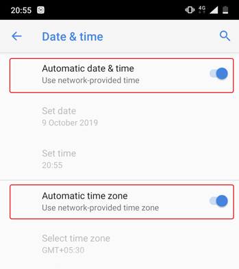 toggle on automatic date and time on android
