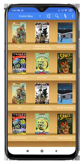 local comic books on the bookshelf in comic cat - comic book reader app