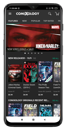 dashboard of comixology android app displaying comic collections you can purchase