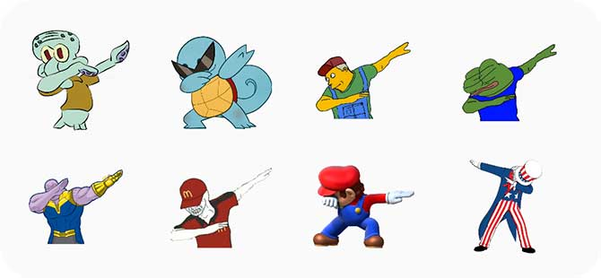 Cuplikan layar Karakter Dabbing seperti Thanos, Squidward, Squirtle, dll.