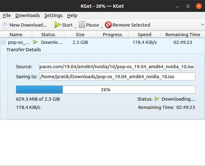 pop iso file transfer details in kget download manager