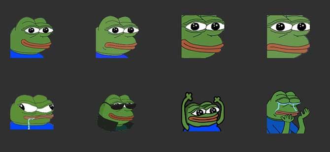 Cuplikan layar Pepe dalam berbagai inkarnasi.