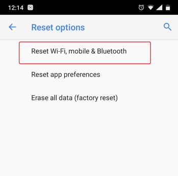 option to reset bluetooth mobile data and wi-fi